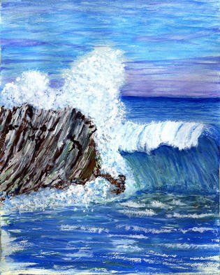 James Parker: 'Blue Ocean Wave', 2003 Acrylic Painting, Seascape. The blues in contrast to the breaking wave and black rock combine nicely here. ...