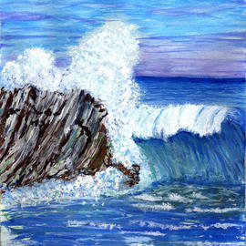 James Parker: 'Blue Ocean Wave', 2003 Acrylic Painting, Seascape. Artist Description: The blues in contrast to the breaking wave and black rock combine nicely here. ...
