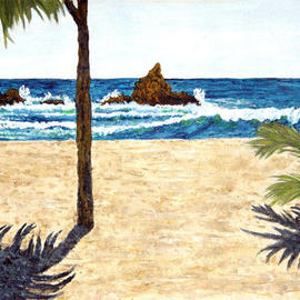 James Parker: 'Cabana View', 2003 Acrylic Painting, Seascape. Artist Description: Nice little view from a beach cabana out to the crashing waves....
