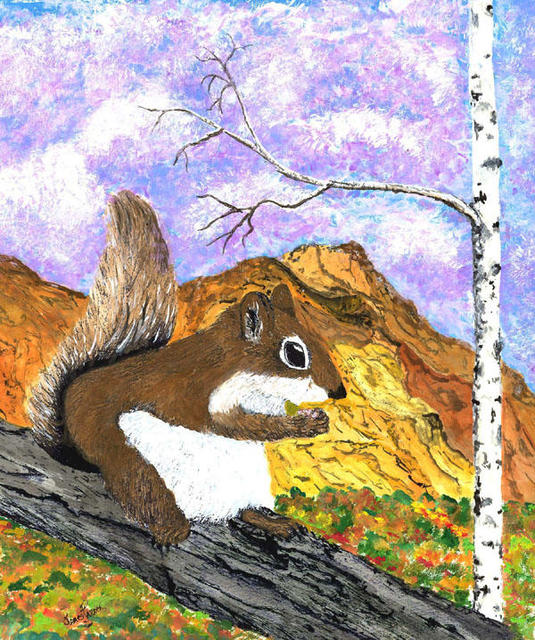 James Parker  'Colored Squirrel', created in 2002, Original Drawing Pen.