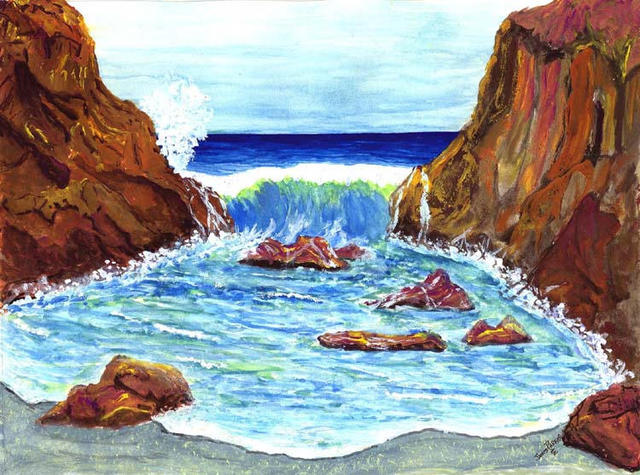 James Parker  'Cove Break', created in 2003, Original Drawing Pen.