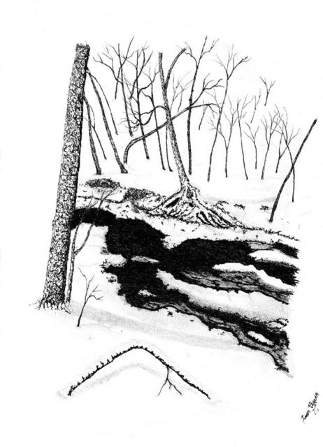 James Parker  'Creek Snow Scene', created in 2002, Original Drawing Pen.