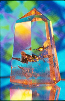 James Parker: 'Crystal Pastel', 1989 Color Photograph, Optical. The pleasing pastels found in the background of this photograph glow gently within this quite astonishing cut and polished quartz obelisk. The internal golden reflections are coming from what are called phamtoms....