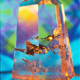 James Parker: 'Crystal Pastel', 1989 Color Photograph, Optical. Artist Description: The pleasing pastels found in the background of this photograph glow gently within this quite astonishing cut and polished quartz obelisk. The internal golden reflections are coming from what are called phamtoms....