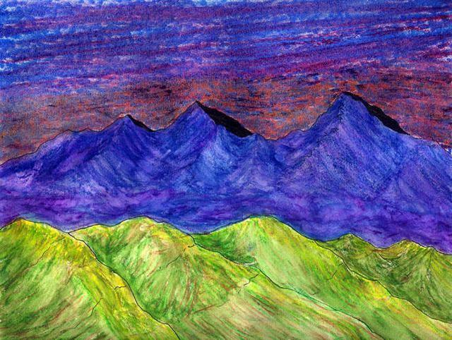 James Parker  'Fantasy Mountains IX', created in 2002, Original Drawing Pen.