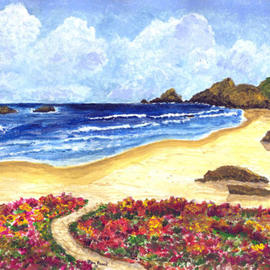 James Parker: 'Flower Garden Beach', 2003 Acrylic Painting, Seascape. Artist Description: Flowers along the path leading to the beach highlight this colorful seascape....