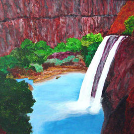 James Parker: 'Havisu Falls', 2003 Acrylic Painting, Southwestern. Artist Description: This famous  water fall contrasts nicely with the canyon walls and greenery....