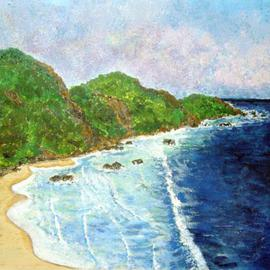 James Parker: 'Mexico Coastline', 2003 Acrylic Painting, Seascape. Artist Description: A long section of Pacific coastline found in sourthern Mexico.  ...