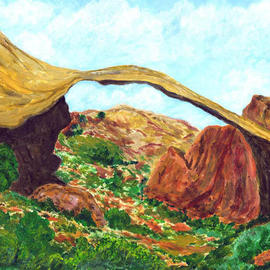 James Parker: 'Natural Bridge', 2003 Acrylic Painting, Southwestern. Artist Description: I don' t recall where exactly in the west this natural bridge resides, but it makes an interesting subject with its graceful arch....