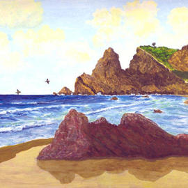 James Parker: 'Punta Comita', 2003 Acrylic Painting, Seascape. Artist Description: Comet Point, Mazunte Mexico. From this point the sun actually rises out of the pacific in the east and crosses and expansive southern sea to set finally in the western pacific. It is the longest expanse of sea, from land I' ve ever seen. Also, the little tree ...