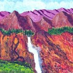 Purple Mts Waterfall By James Parker