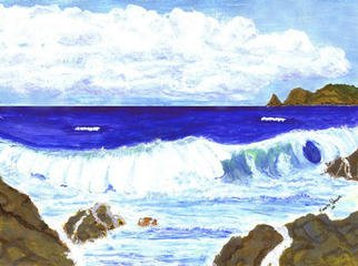 Artist: James Parker - Title: Rocks and Wave - Medium: Watercolor - Year: 2003