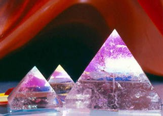 James Parker: 'Triple Crystal Pyramids', 1989 Color Photograph, Optical. Three glowing guartz pyramids enfolded in a surrealistic red backdrop. One can see how taking these photographs was in itself a pretty awe inspiring experience- - which it was....