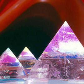 James Parker: 'Triple Crystal Pyramids', 1989 Color Photograph, Optical. Artist Description: Three glowing guartz pyramids enfolded in a surrealistic red backdrop. One can see how taking these photographs was in itself a pretty awe inspiring experience- - which it was....