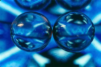 James Parker: 'Twin Crystals Blue', 1990 Color Photograph, Optical. Anyone liking round and blue should be quite happy with with photograph. Two perfectly matched and perfectly clear crystal balls are what produced the magic....