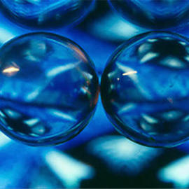 James Parker: 'Twin Crystals Blue', 1990 Color Photograph, Optical. Artist Description: Anyone liking round and blue should be quite happy with with photograph. Two perfectly matched and perfectly clear crystal balls are what produced the magic....
