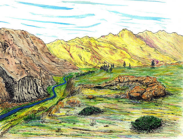 James Parker  'Yellow Mountain Valley', created in 2002, Original Drawing Pen.