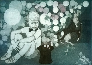 Jane Daniell: 'Hey Presto', 2013 Intaglio, Fantasy.  In this image the boy has woefully created all this magic and doesn't know how to stop it a bit like the Sorcerer' s Apprentice. Especially as the rabbit is making off with his wand. It is one of 10 limited edition aquatint etchings and is inked individually. I...