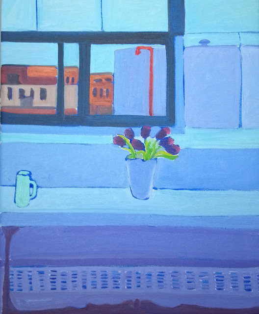 Jane Mcnichol  'Tulips By My Studio  Window', created in 2012, Original Painting Oil.