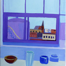 Jane Mcnichol: 'Vase Bowl Cup', 2012 Oil Painting, Still Life. Artist Description:   This is a still life painting of a vase, bowl and cup by my Brooklyn studio window ...