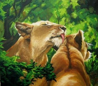 Janet Page Artwork 2 Lionessses Preening, 2014 Oil Painting, Wildlife