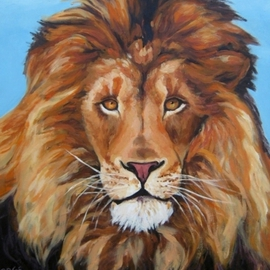 Janet Page Artwork PORTRAIT OF A LION, 2013 Oil Painting, Wildlife