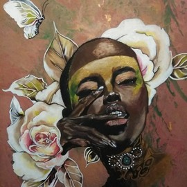 Janice Park: 'beauty', 2018 Acrylic Painting, Ethnic. Artist Description: African American woman with gold highlights around her eyes. Flowers and a butterfly frames her face....