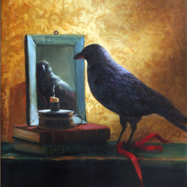 Janine Kilty: 'Still Life With Crow', 2009 Oil Painting, Still Life. Artist Description:  Still life with crow, books and mirror.  Painted from life ( taxidermied specimen) .  ...