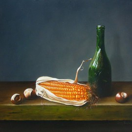 Jan Teunissen Artwork Bottle with corn and chestnuts, 2010 Oil Painting, Still Life