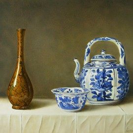 Jan Teunissen Artwork Chinese Kraak bowl and wine pot and bronze vase, 2012 Oil Painting, Still Life