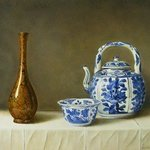 Chinese Kraak bowl and wine pot and bronze vase By Jan Teunissen