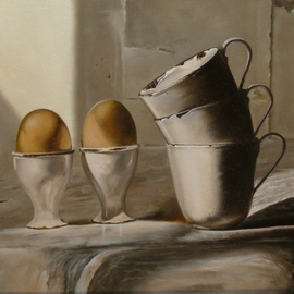 Jan Teunissen Artwork Enamelled egg and drinkcups , 2008 Oil Painting, Still Life