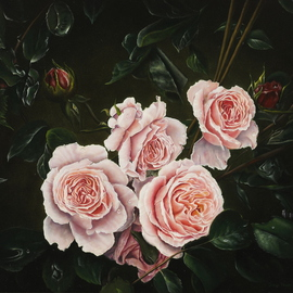 Jan Teunissen: 'English roses', 2008 Oil Painting, Floral. Artist Description:  English roses Oilpainting on board...