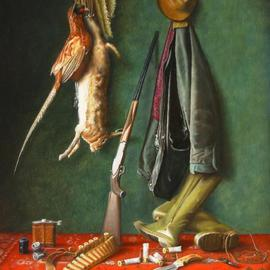 Jan Teunissen: 'Huntingscene with hare and pheasant ', 2010 Oil Painting, Still Life. Artist Description:  Huntingscene with hare and pheasant Oilpainting on board...