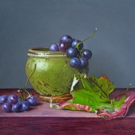 Jan Teunissen: 'Jar of grape and leaf', 2010 Oil Painting, Still Life. Artist Description: Jar of grape and leafOilpainting on board...