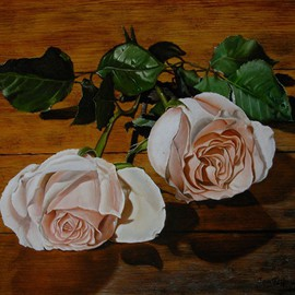 Jan Teunissen: 'Roses on wood  ', 2010 Oil Painting, Floral. Artist Description: Roses on woodOilpainting on board...