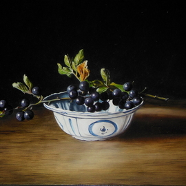 Jan Teunissen: 'chinese dish and black berries', 2018 Oil Painting, Still Life. Artist Description: Berries twig Chinese dish ...