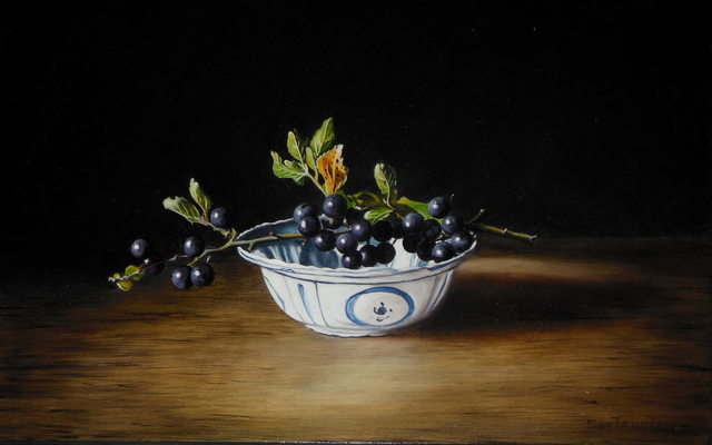 Jan Teunissen  'Chinese Dish And Black Berries', created in 2018, Original Painting Oil.
