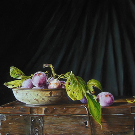 Jan Teunissen: 'plums in a rusty dish on a box', 2018 Oil Painting, Still Life.