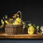 still life basket and quinces By Jan Teunissen