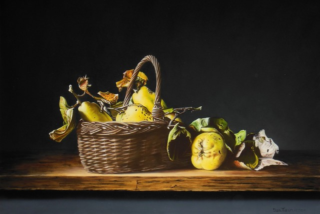 Jan Teunissen  'Still Life Basket And Quinces', created in 2017, Original Painting Oil.