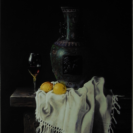Jan Teunissen: 'still life with cloisonnevase', 2018 Oil Painting, Still Life. Artist Description: citroenen wijnglas and wine glass c lemons cloisonne- vase ...