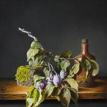 still life with plums and jug By Jan Teunissen