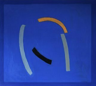 Jan-thomas Olund: 'blue no 6 falling', 2020 Oil Painting, Minimalism. Ultramarine and cobalt blue two colors that form the basis for a new series of paintings. Blue colors is searching simple shapes  Falling  is a variation of blue no 2. ...
