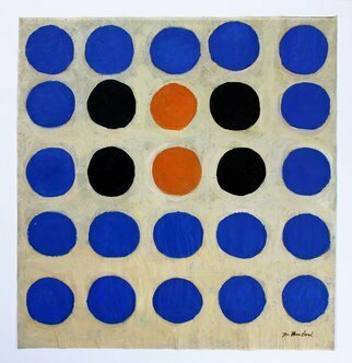 Jan-thomas Olund: 'happy dots', 2020 Oil Painting, Minimalism. In the work happy dots I use the round shapes that I have used in several other paintings. The painting is oil on waxed paper 44 x 41 cm framed in a 50 x 50 cm white frame. ...
