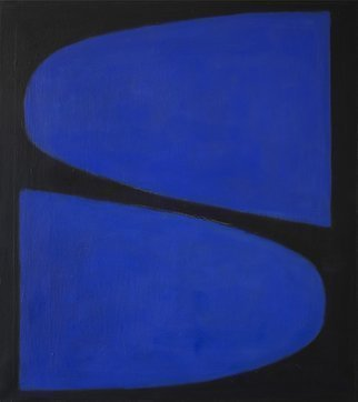 Jan-thomas Olund: 'i say tip tap', 2017 Oil Painting, Minimalism. Artist Description: Two blue forms the coloring of colors with light and darkness Oil on canvas. ...
