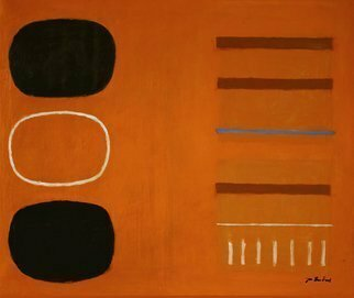 Jan-thomas Olund: 'orange no1', 2020 Oil Painting, Minimalism. A composition with shapes against an orange background a rug indicated in the left corner of the painting. ...