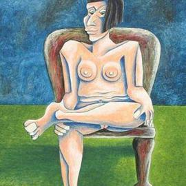 Jan Vasa: 'Jockey', 1999 Oil Painting, nudes. Artist Description: oil on canvas panel thickness 3/ 16...
