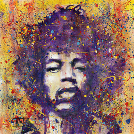 Jaroslaw Glod: 'Jimi Hendrix', 2015 Acrylic Painting, Famous People. Artist Description:  Pop Art style portrait of Jimi Hendrix. Acrylic painting on cotton canvas 50cmx50cm. Mixed media - acrylic, guache....
