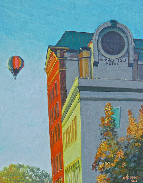 Jeanette Jarmon  'Balloon And Eola Hotel Natchez MS ', created in 2012, Original Painting Acrylic.
